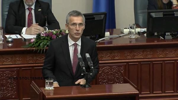 NATO Secretary-General Jens Stoltenberg addresses Macedonian parliament