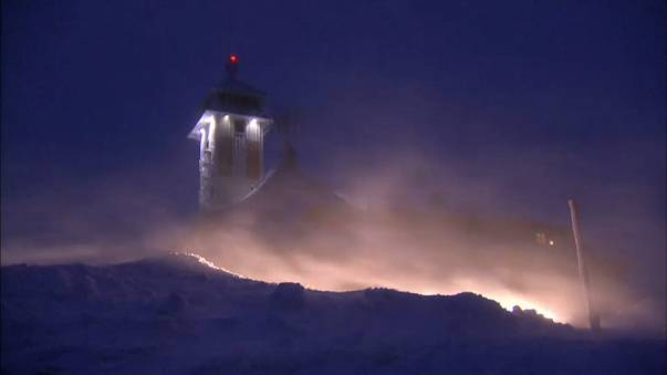 Storm Friederike kicks up snow in  Fichtelberg, Saxony