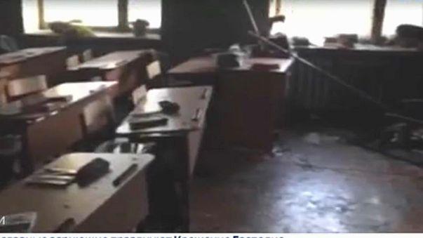 Estado del aula incendiada por el atacante