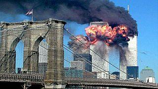 برجا التجارة في نيويورك لحظة استهدافهما بهجمات في 11 أيلول/سبتمبر