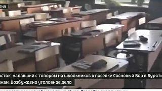 Quello che resta dell'aula dopo il lancio della molotov