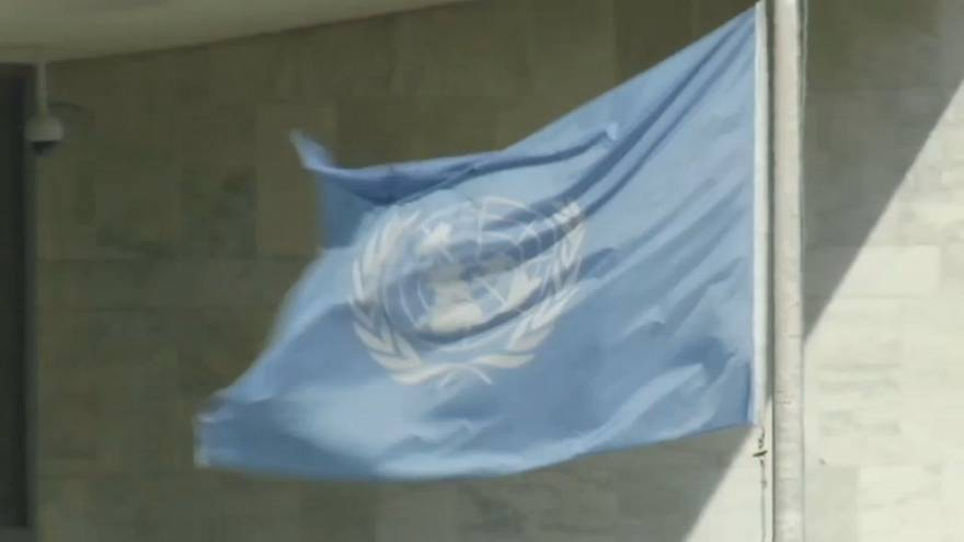 The United Nations flag at the UN's headquarters in New York