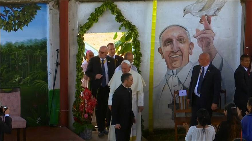 Pope continues championing of the Amazon, meets indigenous children