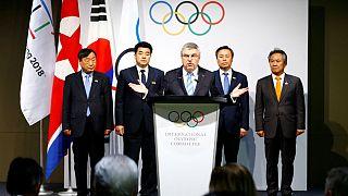 Kuzey ve Güney Koreli sporcular el ele