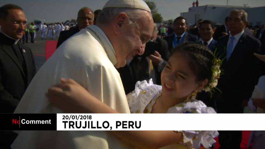 Pope visits northern Peruvian town of Trujillo to say Mass to those devastated by flooding in 2017