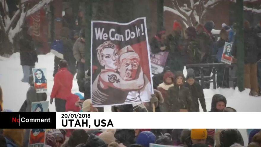 شاهد: مظاهرات نسائية للتنديد بسياسة ترامب في الذكرى السنوية الأولى لتنصيبه