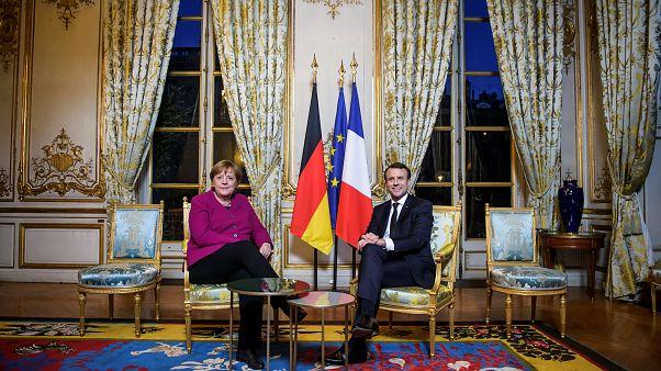 Merkel und Macron bei ihrem Treffen im Élysée-Palast am 19. Januar 2018.