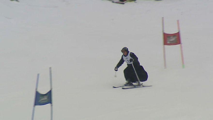 Польские священники на лыжах