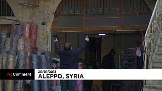 Lojas reabrem em Aleppo, Síria