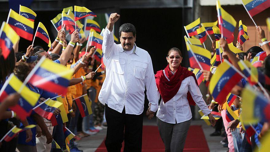 Venezuela's President Nicolas Maduro with his wife Cilia Flores