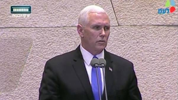 US Vice President Mike Pence addressing Israeli parliament