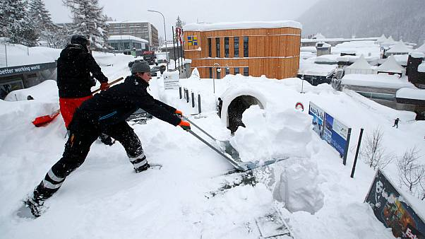Watch: Heavy snow takes centre stage at Davos