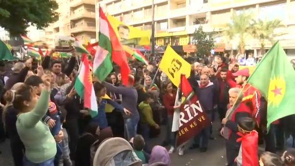مظاهرة للأكراد أمام السفارة الروسية في بيروت