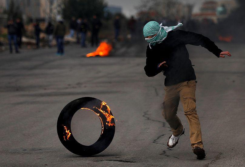 Palästinenser demonstriert in Ramallah gegen Pence-Besuch