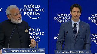 Modi and Trudeau defend free trade at Davos