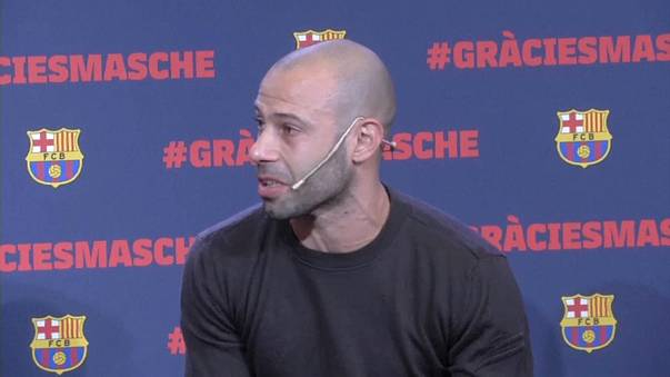 Mascherano makes tearful exit from Barcelona