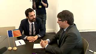 Carles Puigdemont and Roger Torrent meeting in Brussels.