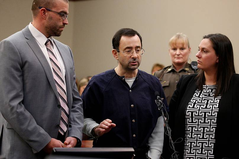 Larry Nassar makes a statement in the courtroom during his sentencing hearing in Lansing, Michigan, U.S.