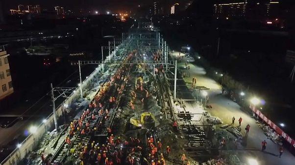 چین؛ ساخت ایستگاه قطار در کمتر از ۹ ساعت