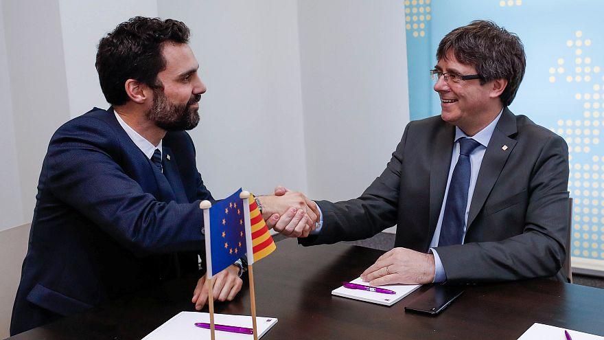 Puigdemont y Roger Torrent, presidente del Parlamento catalán
