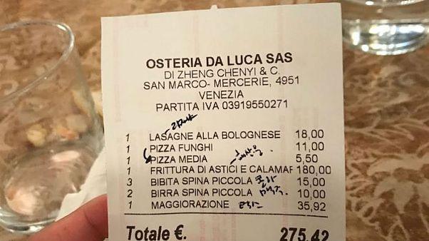 صورتحساب رستوران اوستریا دالوکا در ونیز