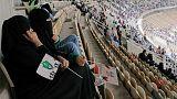 Saudi women watch the soccer match