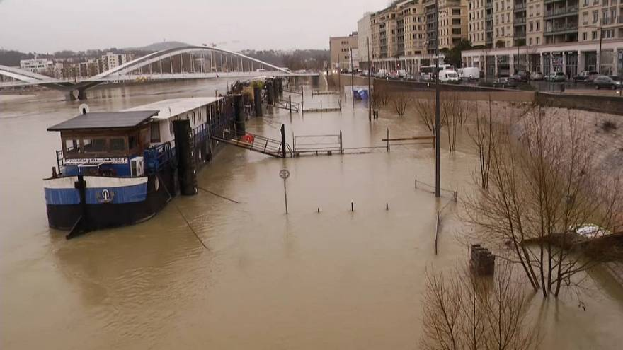 Rhône et Saône en crue à Lyon