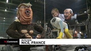 Líderes mundiais são estrelas no Carnaval de Nice