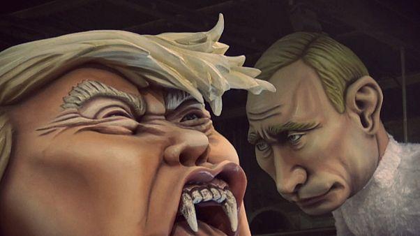 مجسمههای غولپیکر رهبران جهان در کارناوال شهر نیس