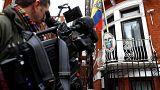Vor der Botschaft von Ecuador in London