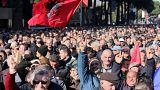 Manifestation dans les rues de Tirana