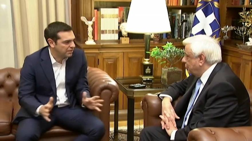 Greek prime minister Alexis Tsipras (L) and president Prokopis Pavlopoulos