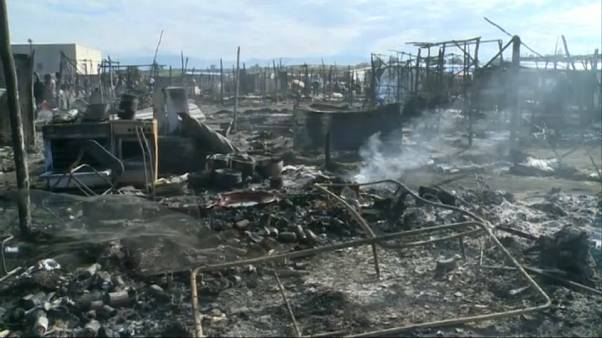 Пожар в палаточном городке мигрантов