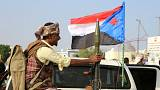 Bodyguard of a southern Yemeni separatist leader holds an RPG launcher