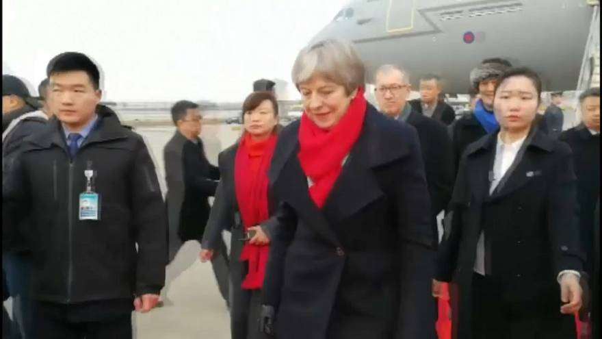 British prime minister Theresa May arrives in China