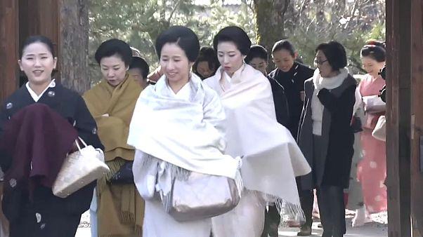 Grupo de geishas visita templo em Quioto