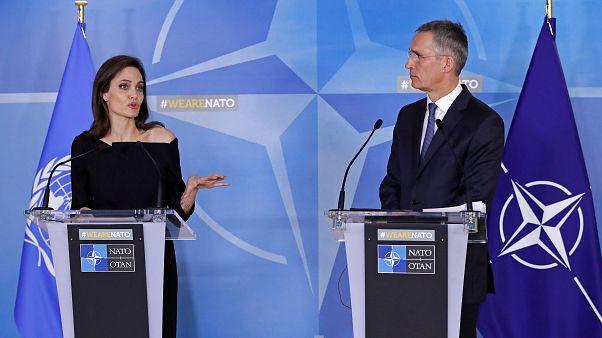 Angelina Jolie kadına şiddet ile mücadele için NATO'da