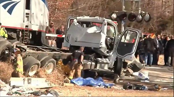 Train carrying US Republicans hits truck, killing driver