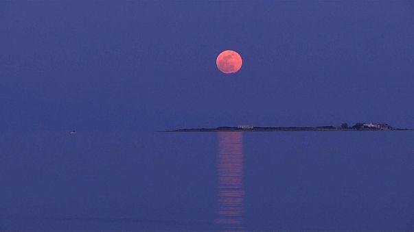 القمر الأزرق الدموي في مشاهد نادرة خلابة أبهرت العالم