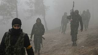 Turkey-backed Free Syria fighters near near Mount Barsaya