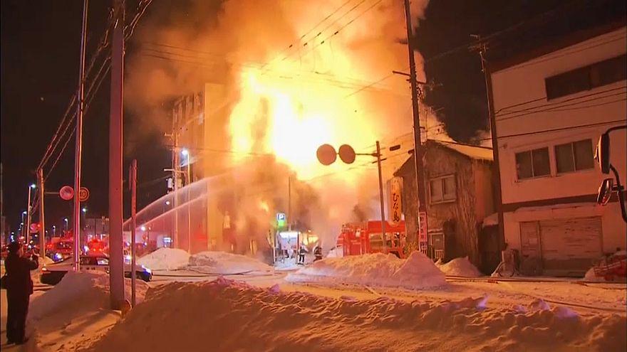 Пожар в японском городе Саппоро