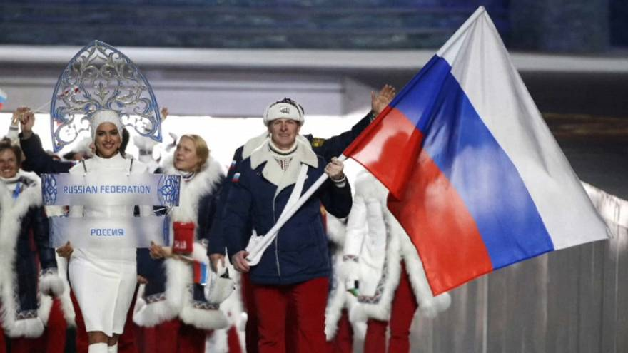 Russian athletes at opening ceremony at the 2014 Winter Olympics
