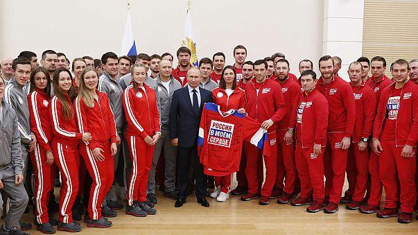 Vladimir Putin meets Russian athletes competing at Pyeongchang Winter Games