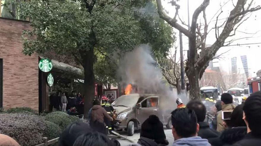 Van catches fire and ploughs through Shanghai pedestrians