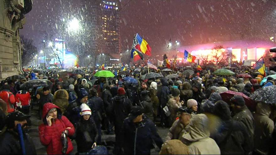 Demonstrators came out in the snow to protest the new laws