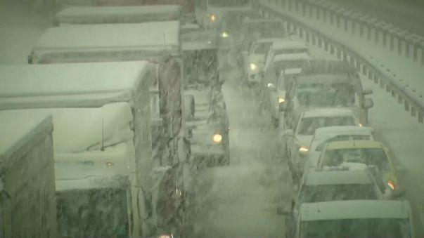 Fuerte temporal de nieve en Eslovenia y Croacia