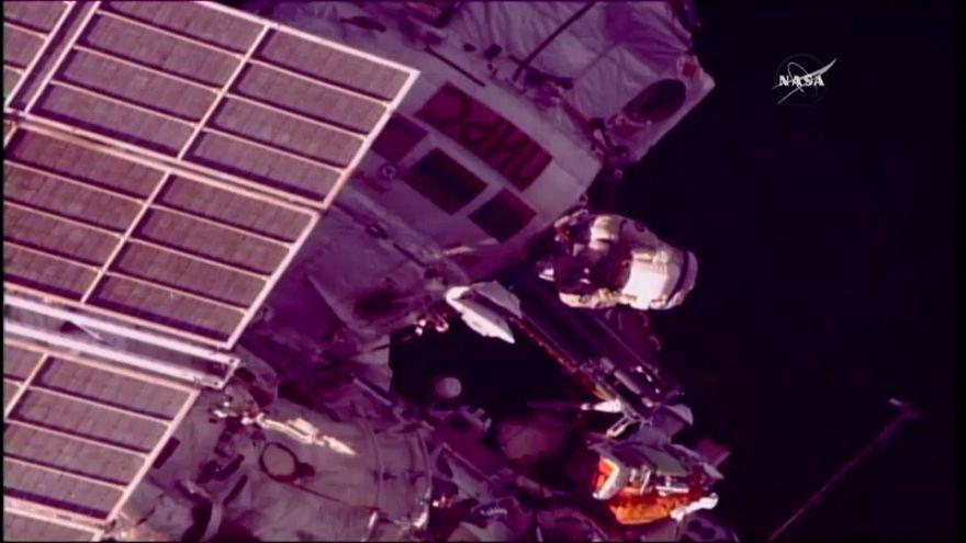 Russian astronauts go for spacewalk