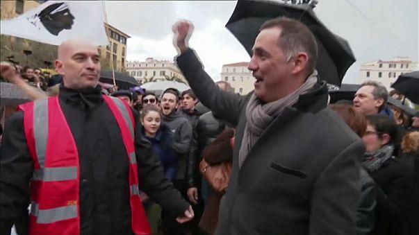 Mobilisation à l'appel des nationalistes en Corse