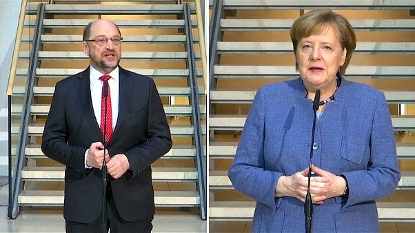Angela Merkel e Martin Schulz ainda sem acordo de governo