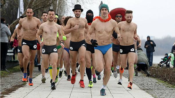 Near-naked runners take on freezing winds in Serbia's Underwear Race